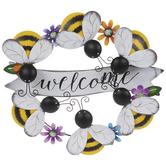 Bee Welcome Wreath Metal Wall Decor