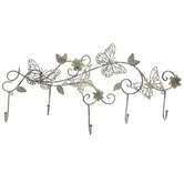 Butterfly & Flower Metal Wall Decor With Hooks