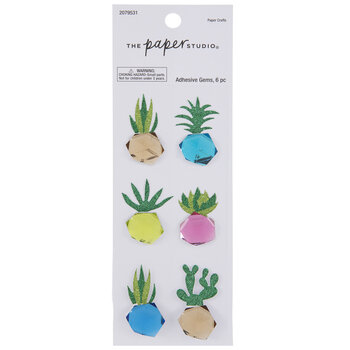 Potted Plant Glitter & Rhinestone Stickers