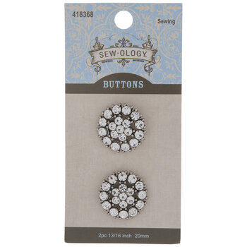 Clear Rhinestone Flower Shank Buttons - 20mm