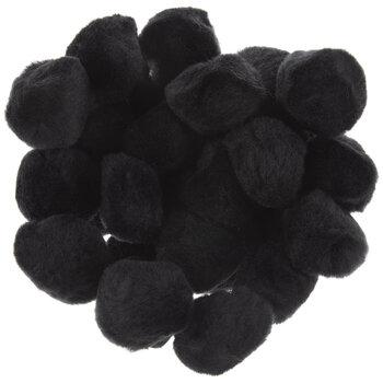 """Black Pom Poms - 1 1/2"""""""