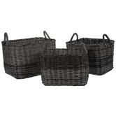 Dark Gray Woven Rectangle Basket Set