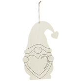Gnome With Heart Wood Shape