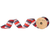 Red, White & Blue Plaid Wired Edge Ribbon - 1 1/2""