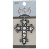 Antique Silver Cross Rhinestone Button - 59mm