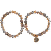 Earth Tone Faceted & Stone Beaded Bracelets