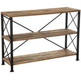 Industrial Three-Tiered Metal Shelf
