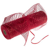 "Red Pull-N-Puff Deco Mesh Ribbon - 10"""