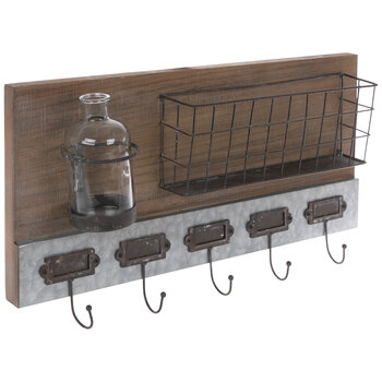 Rustic Wood Wall Organizer With Hooks