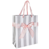 Gray & White Striped Gift Bag With Pink Bow