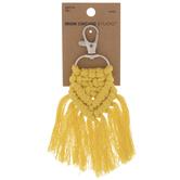 Yellow Macrame Tassel Keychain Clip