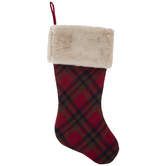 Plaid Stocking With Faux Fur Cuff
