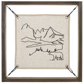 Bear & Mountains Embroidered Wood Wall Decor