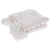 Pink Pom Pom Faux Fur Throw Blanket