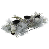 Flocked Pinecone Candle Holder Centerpiece