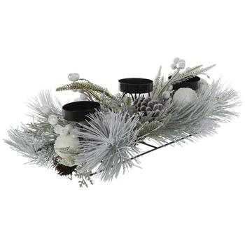 Flocked Pinecone Candle Holder Centerpiece