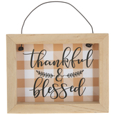 Thankful & Blessed Plaid Wood Ornament