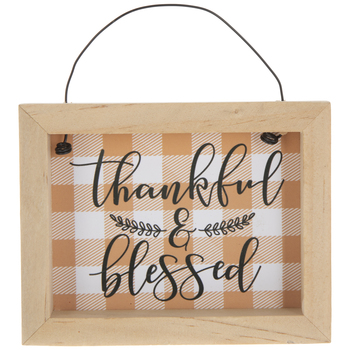 Thankful & Blessed Plaid Ornament