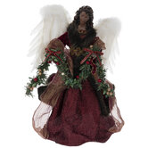 Burgundy Angel With Garland Tree Topper
