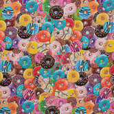 Donut Party Cotton Calico Fabric