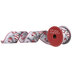 White & Red Ornament Wired Edge Ribbon - 2 1/2