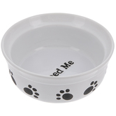 Feed Me Paw Print Dog Bowl