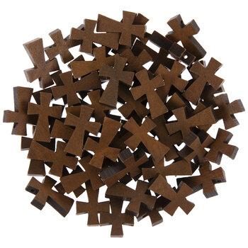 Brown Wood Cross Beads