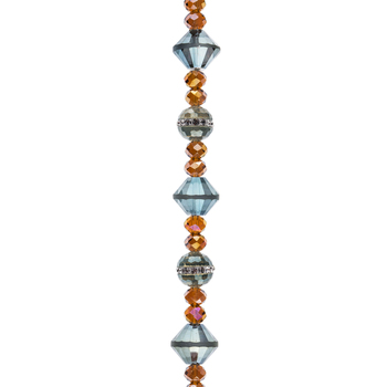 Celadon & Brown AB Faceted Glass Bead Strand