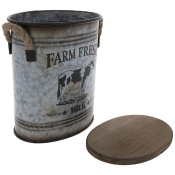Farm Fresh Milk Galvanized Metal Container - Small