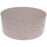 Pink & Gold Leopard Print Round Box