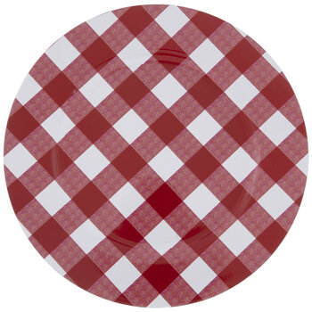 Red & White Buffalo Check Plate Charger