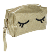 Gold Glitter Eyelashes Cosmetics Pouch