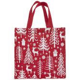Red Reindeer & Tree Burlap Tote Bag