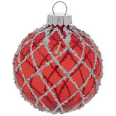 Red & White Striped Ball Ornaments