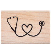 Stethoscope Heart Rubber Stamp