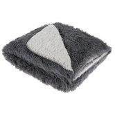 Gray & White Faux Fur Throw Blanket