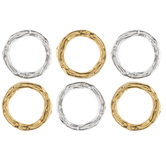10K Gold & Sterling Silver Plated Textured Rings
