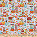 Dogs, Pumpkins & Leaves Cotton Fabric