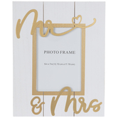 "Gold Mr & Mrs Wood Frame - 5"" x 7"""