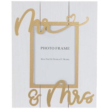 "Gold Mr & Mrs Wood Frame - 5"" x 7"""