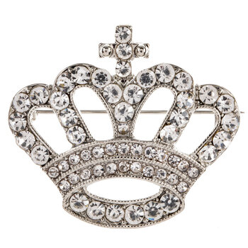 Crown Rhinestone Brooch