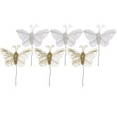 White & Gold Glitter Butterflies