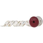 "Gold & Silver Ornament Wired Edge Ribbon - 2 1/2"""