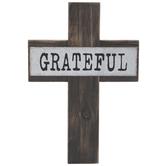 Grateful Wood Wall Cross