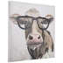 Brown Cow With Glasses Canvas Wall Decor