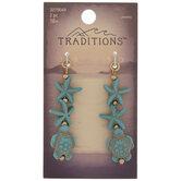 Turquoise Howlite Turtle & Starfish Drop Charms