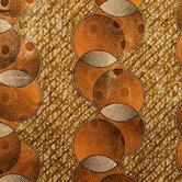 Gold & Orange Metallic Ank Cotton Fabric