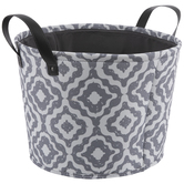 Gray & White Quatrefoil Round Canvas Basket