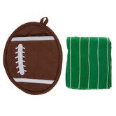 Football Oven Mitt & Kitchen Towel