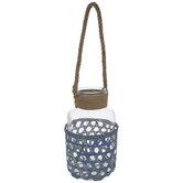 Blue Bamboo Glass Lantern